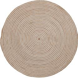 Kave Home - Alfombra Saht Ø 100 cm natural y blanco