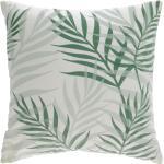 Kave Home - Funda cojín Amorela 100% algodón hojas verde 45 x 45 cm