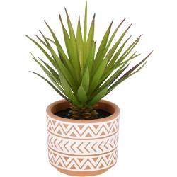 Kave Home - Planta artificial Palmera pequeña con maceta de cerámica marrón y blanco 13 cm