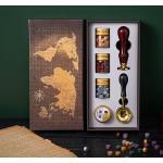 Kit de sellos de cera vintage con caja de regalo, cuentas de cera de sellado, sello de cera, cuchara de fusion de cera, vela para tarjetas, sobres, invitaciones de boda, postal, embalaje de regalo, sellado, decoracion,Tipo 2
