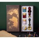 Kit de sellos de cera vintage con caja de regalo, cuentas de cera de sellado, sello de cera, cuchara de fusion de cera, vela para tarjetas, sobres, invitaciones de boda, postal, embalaje de regalo, sellado, decoracion,Tipo 4