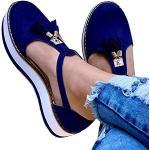 KRILY Sandalias De Plataforma para Mujer Sandalias De Cuero con Borlas Zapatos De Hebilla con Puntera Cerrada Correa De Tobillo Alpargatas De Playa Vintage con TacóN,Azul,43
