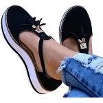 KRILY Sandalias De Plataforma para Mujer Sandalias De Cuero con Borlas Zapatos De Hebilla con Puntera Cerrada Correa De Tobillo Alpargatas De Playa Vintage con TacóN,Negro,37