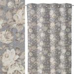 LOLA home Visillo de flores gris de poliéster de 140x260 cm