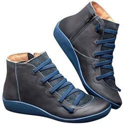 Botas azules militares con flecos para mujer