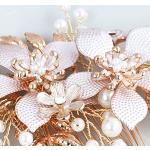 Lurrose Boda novia cepillo de pelo cristal broche de pelo aniversario broche de boda