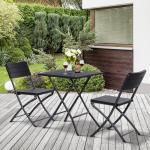 Outsunny 3 Piezas de Mesa y Sillas de Café Plegable para Exterior Conjunto de Muebles Comedor para Jardín Balcón Moderno Fácil de Guardar