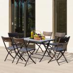 Outsunny Conjunto de Mesa Sillas Muebles Plegable Ratán para Jardín Exterior Patio Terraza 7 Pcs Acero - Color Marrón - 61x46x84cm