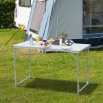 Outsunny Mesa de Camping Plegable y Convertible con Altura Regulable - Color Blanco - Aluminio y MDF - 120x60x54-70cm