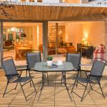 Outsunny Outdoor Juego de Comedor de Jardín de 5 Piezas Sillas y Mesas Plegables Muebles Exteriores para Terraza con Orificio para Sombrillas