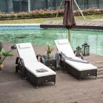 Outsunny Set de 2 Tumbonas Chaise Longue + 1 Mesa de Ratán para Jardín o Terraza Sillas con Cojín y Respaldo Ajustable a 5 Niveles - Marrón