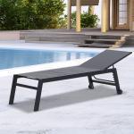 Outsunny Tumbona para Exterior con Ruedas Chaise Longue de Jardín de Respaldo Regulable de 5 Niveles Gris 169x65x102cm