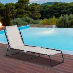 Outsunny Tumbona Plegable de Jardín Tumbona Inclinable de Playa con Respaldo Ajustable Fácil de Transportar para Patios Piscina 197x58x78cm Crema Blanco