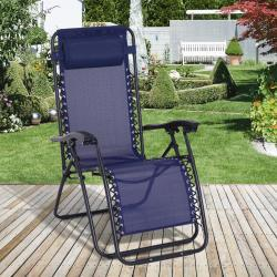 Outsunny® Tumbona Plegable Jardín Silla Gravedad Cero Sillón de Playa Relajante Textilene Respaldo Reclinable Marco Acero Carga 150kg Azul