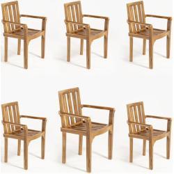 Pack 6 sillones para terraza apilables | Madera teca grado A | Tamaño: 61x50x88 cm | Tratamiento al agua aplicado | Portes gratis - EDENJARDIN