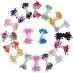 PandaHall Elite 1800 Pcs Gypsum Artificial Flores Núcleo del Corazón, Color Mezclado, 60x3 mm; 100 Hilos/Color