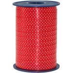 Präsent - Cinta para Regalos (10 mm, 200 m), diseño con Lunares, Color Rojo
