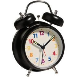 Premier Housewares - Reloj Despertador (2 Campanas, luz, 17 x 12 x 6 cm), Color Negro Mate