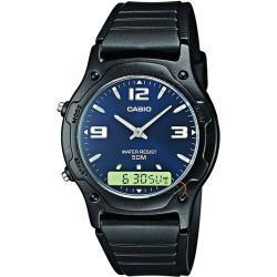 Reloj Casio AW-49HE-2A Resina correa color: Negro Dial Azul Analógico - Digital Unisex