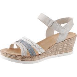 Sandalias plateado de verano con tacón de cuña de punta abierta Rieker para mujer