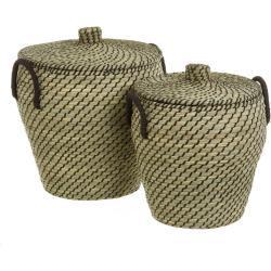 Set de 2 cestos de ropa de fibra natural negro exótico