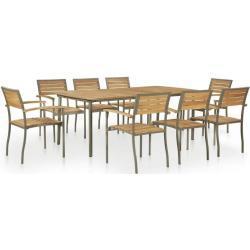 Set de comedor de jardín 9 pzas madera maciza de acacia y acero - VIDAXL