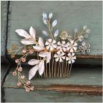 SWEETV Gold Nupcial Peine para el cabello Rhinestone Clip de boda Flor Accesorios para el cabello Piezas para la cabeza para mujeres