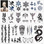Tatuajes temporales para adultos hombre Mujer Niños (18 Hojas), Konsait Falsos Tatuajes Adhesivos Tatuajes de cuerpo temporales brazo cuello impermeable, Dragón Ancla Ojo Escorpión calaveras Tigre