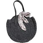 TININNA - Bolso de playa de paja para mujer, redondo, ratán, vintage, bolsa de almacenamiento, bandolera, color negro