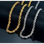 Twist Hip Hop collar de cadena larga de acero inoxidable hombres joyería al por mayor, marca Hippie