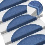 vidaXL Alfombrillas de escalera 15 unidades azul 65x24x4 cm