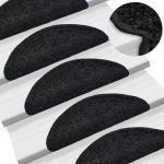 vidaXL Alfombrillas de escalera 15 unidades negro 56x20 cm
