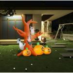 vidaXL Árbol fantasma inflable de Halloween con calabazas 6 LEDs 2,6 m