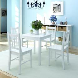 vidaXL Conjunto de comedor 5 piezas madera de pino blanco