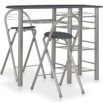 vidaXL Mesa y taburetes de cocina con estantes de madera y acero negro