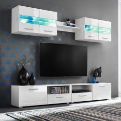 vidaXL Mueble de salón de TV con luces LED blanco brillante 5 piezas
