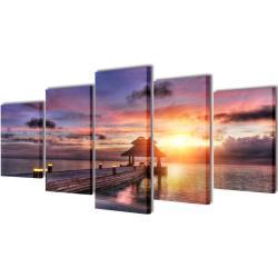 vidaXL Set decorativo de lienzos para pared playa con pérgola 200 x 100 cm