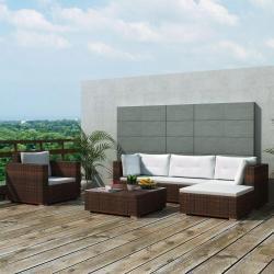 vidaXL Set muebles de jardín 6 piezas y cojines ratán sintético marrón