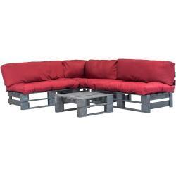 vidaXL Set sofás de jardín de palés 4 piezas y cojines rojos madera