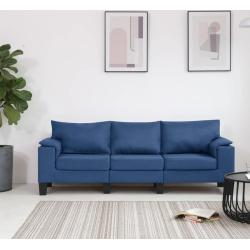 vidaXL Sofá de 3 plazas de tela azul