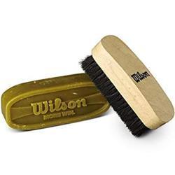 Wilson WTF992700 Set de Cuidado para balón de fútbol Americano Incluye Cepillo y Cera Dura, Unisex-Adult, Clear/Brown/Black, Uni