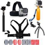 YhtSoprt Juego de accesorios para GoPro, compatible con GoPro Hero 6/5/4/3, Hero Session y SJ4000 Xiaomi Yi DBPower y otras cámaras deportivas, color negro