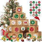 Yisscen 24pcs Cajas de Calendario navideño, DIY Caja de Calendario de Adviento de Navidad, Utilizado Fiesta de cumpleaños Fiesta decoración(Dorado)
