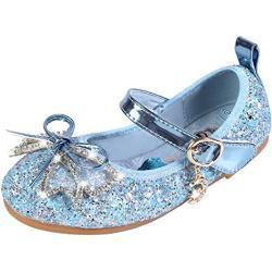 YOSICIL Infantil Zapatos Frozen Elsa Antideslizante con Velcro Disfraz Elsa Frozen de Princesa Zapatillas de Baile con Tacón Plano para Vestir Fiesta Cumpleaños Boda 3-14 Años