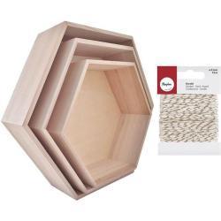 Youdoit 3 estantes de madera hexagonales + cordel dorado & blanco 15 m