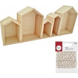 Youdoit Estantes de madera pequeñas casas + cordel dorado & blanco 15 m
